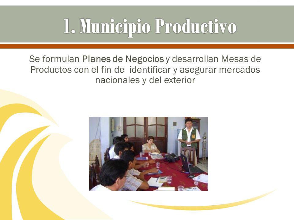 Se formulan Planes de Negocios y desarrollan Mesas de Productos con el fin de identificar y asegurar mercados nacionales y del exterior