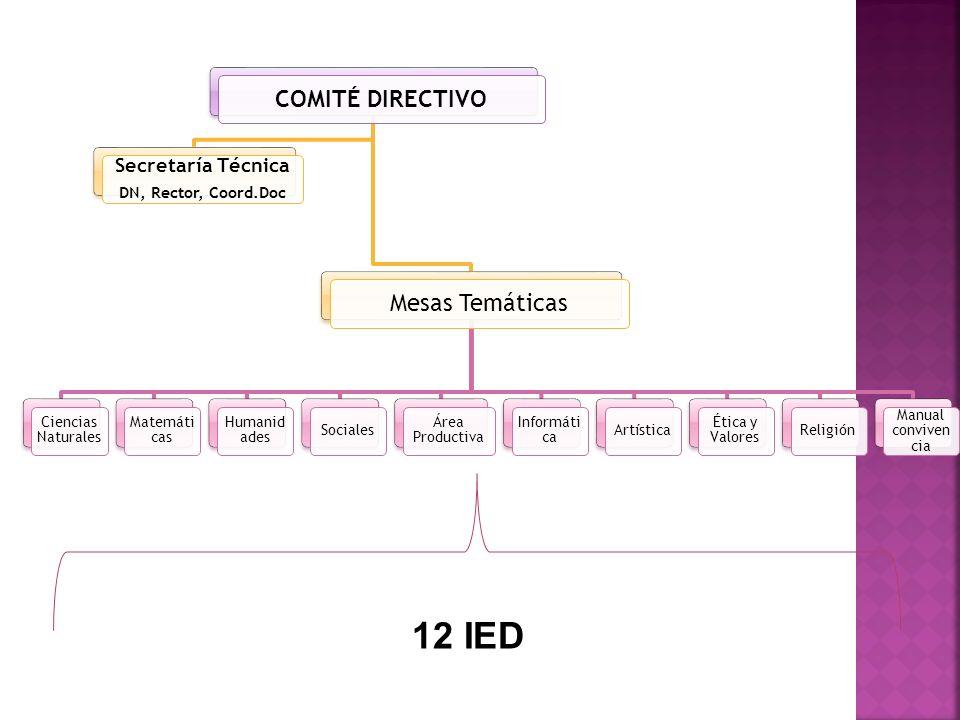 COMITÉ DIRECTIVO Secretaría Técnica DN, Rector, Coord.Doc Mesas Temáticas Ciencias Naturales Matemáti cas Humanid ades Sociales Área Productiva Inform