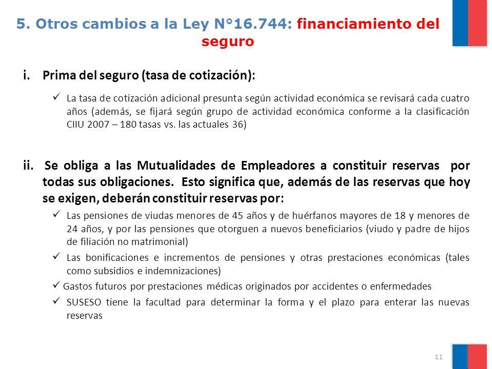 5. Otros cambios a la Ley N°16.744: financiamiento del seguro i.Prima del seguro (tasa de cotización): La tasa de cotización adicional presunta según