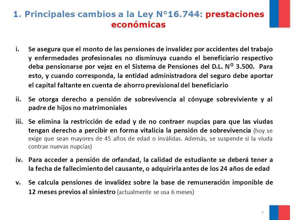1. Principales cambios a la Ley N°16.744: prestaciones económicas i.Se asegura que el monto de las pensiones de invalidez por accidentes del trabajo y