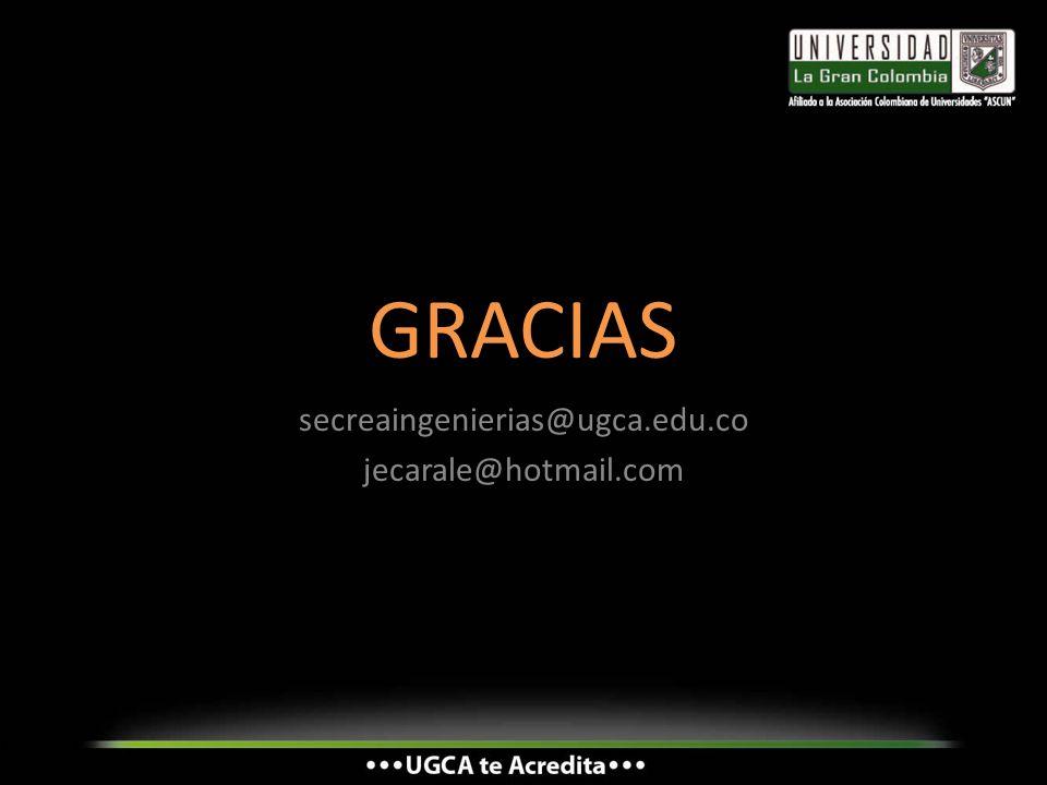 GRACIAS secreaingenierias@ugca.edu.co jecarale@hotmail.com