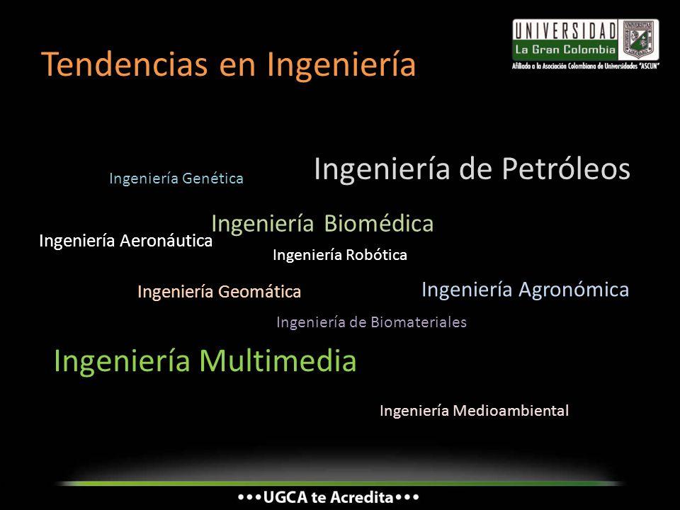 Tendencias en Ingeniería Ingeniería Genética Ingeniería Biomédica Ingeniería Geomática Ingeniería de Petróleos Ingeniería Aeronáutica Ingeniería de Bi