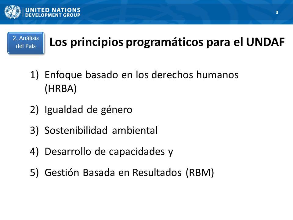 Los principios programáticos para el UNDAF 1)Enfoque basado en los derechos humanos (HRBA) 2)Igualdad de género 3)Sostenibilidad ambiental 4)Desarrollo de capacidades y 5)Gestión Basada en Resultados (RBM) 1.
