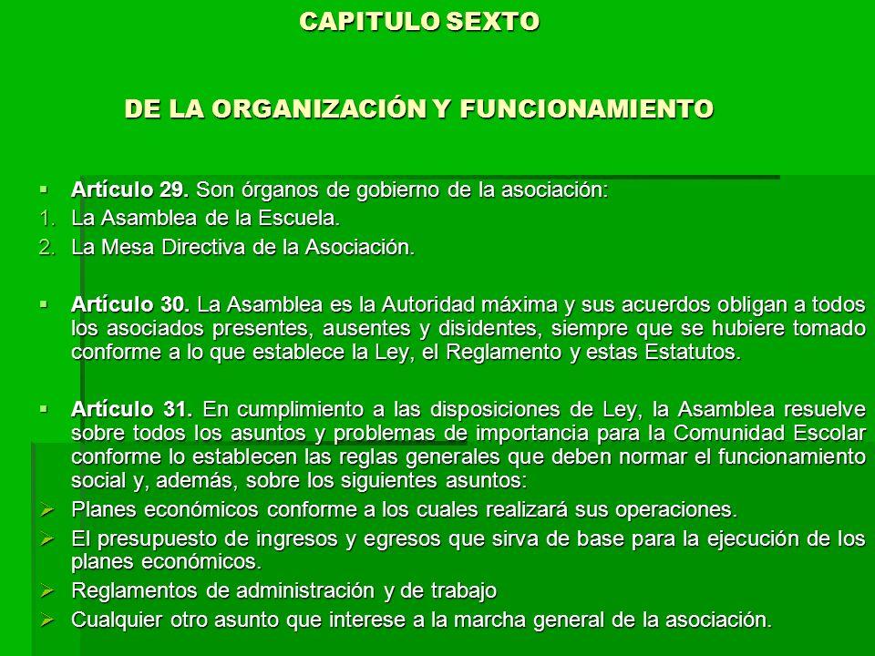 CAPITULO SEXTO DE LA ORGANIZACIÓN Y FUNCIONAMIENTO CAPITULO SEXTO DE LA ORGANIZACIÓN Y FUNCIONAMIENTO Artículo 29.