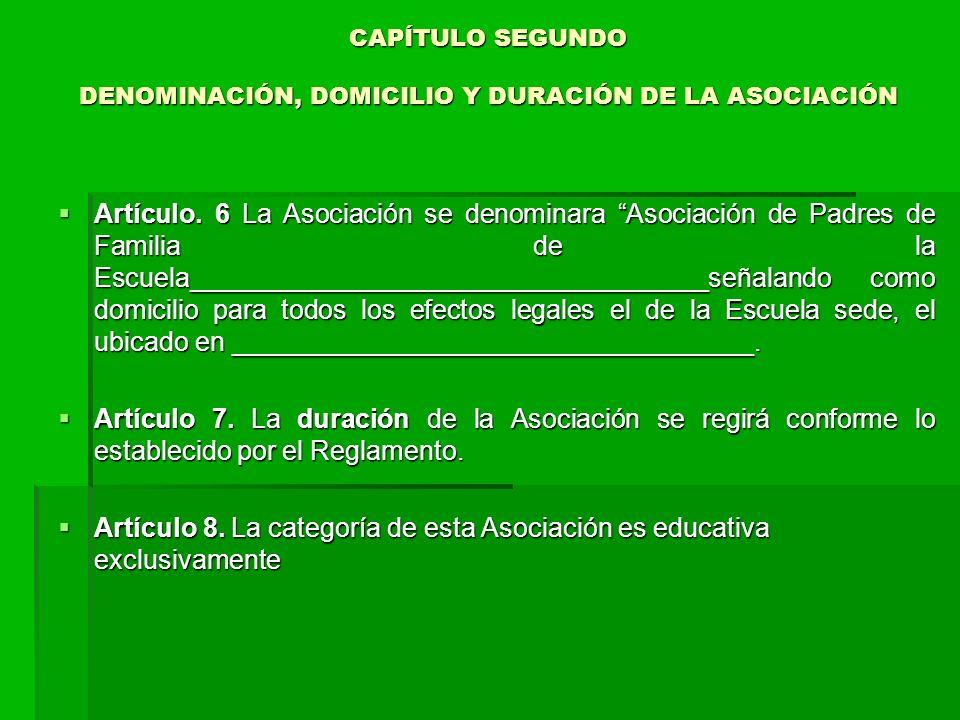 CAPÍTULO SEGUNDO DENOMINACIÓN, DOMICILIO Y DURACIÓN DE LA ASOCIACIÓN CAPÍTULO SEGUNDO DENOMINACIÓN, DOMICILIO Y DURACIÓN DE LA ASOCIACIÓN Artículo.