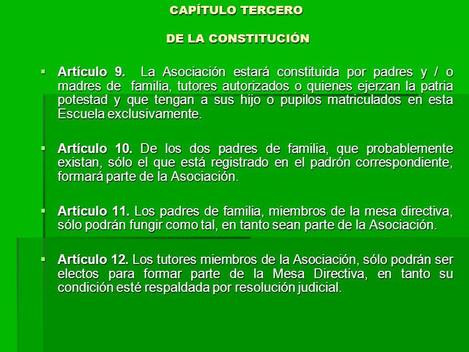 CAPÍTULO TERCERO DE LA CONSTITUCIÓN CAPÍTULO TERCERO DE LA CONSTITUCIÓN Artículo 9.