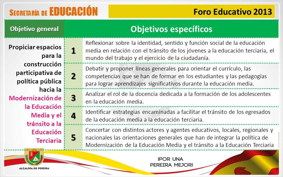 Foro Educativo 2013 Objetivo general Objetivos específicos Propiciar espacios para la construcción participativa de política pública hacia la Moderniz
