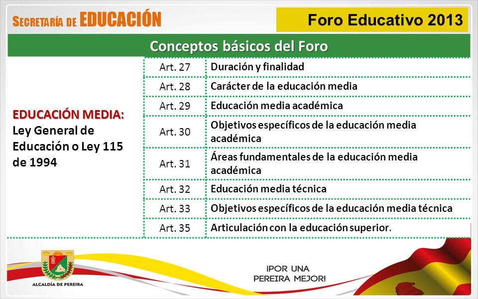 Foro Educativo 2013 Conceptos básicos del Foro EDUCACIÓN MEDIA: Ley General de Educación o Ley 115 de 1994 Art. 27 Duración y finalidad Art. 28 Caráct