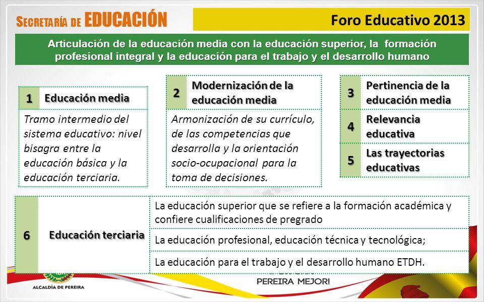 Foro Educativo 2013 S ECRETARÍA DE EDUCACIÓN1 Educación media Tramo intermedio del sistema educativo: nivel bisagra entre la educación básica y la edu