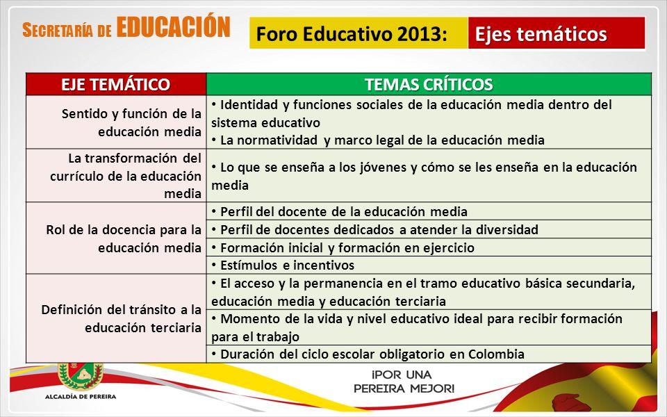 EJE TEMÁTICO TEMAS CRÍTICOS Sentido y función de la educación media Identidad y funciones sociales de la educación media dentro del sistema educativo