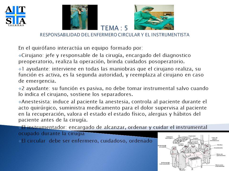 En el quirófano interactúa un equipo formado por: Cirujano: jefe y responsable de la cirugía, encargado del diagnostico preoperatorio, realiza la oper