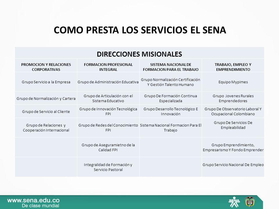 COMO PRESTA LOS SERVICIOS EL SENA DIRECCIONES MISIONALES PROMOCION Y RELACIONES CORPORATIVAS FORMACION PROFESIONAL INTEGRAL SISTEMA NACIONAL DE FORMAC