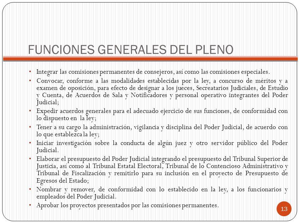 FUNCIONES GENERALES DEL PLENO Integrar las comisiones permanentes de consejeros, así como las comisiones especiales. Convocar, conforme a las modalida