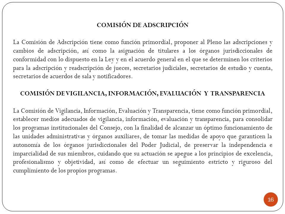 COMISIÓN DE ADSCRIPCIÓN La Comisión de Adscripción tiene como función primordial, proponer al Pleno las adscripciones y cambios de adscripción, así co