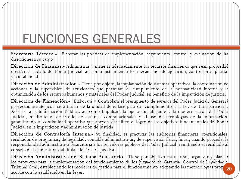 FUNCIONES GENERALES Secretaría Técnica.- Elaborar las políticas de implementación, seguimiento, control y evaluación de las direcciones a su cargo Dir
