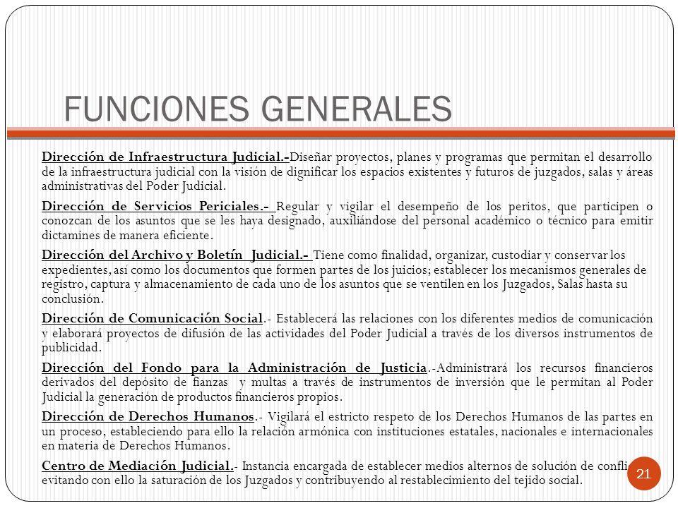 FUNCIONES GENERALES Dirección de Infraestructura Judicial.-Diseñar proyectos, planes y programas que permitan el desarrollo de la infraestructura judi