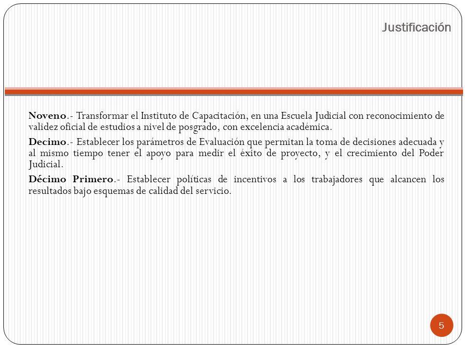 Noveno.- Transformar el Instituto de Capacitación, en una Escuela Judicial con reconocimiento de validez oficial de estudios a nivel de posgrado, con