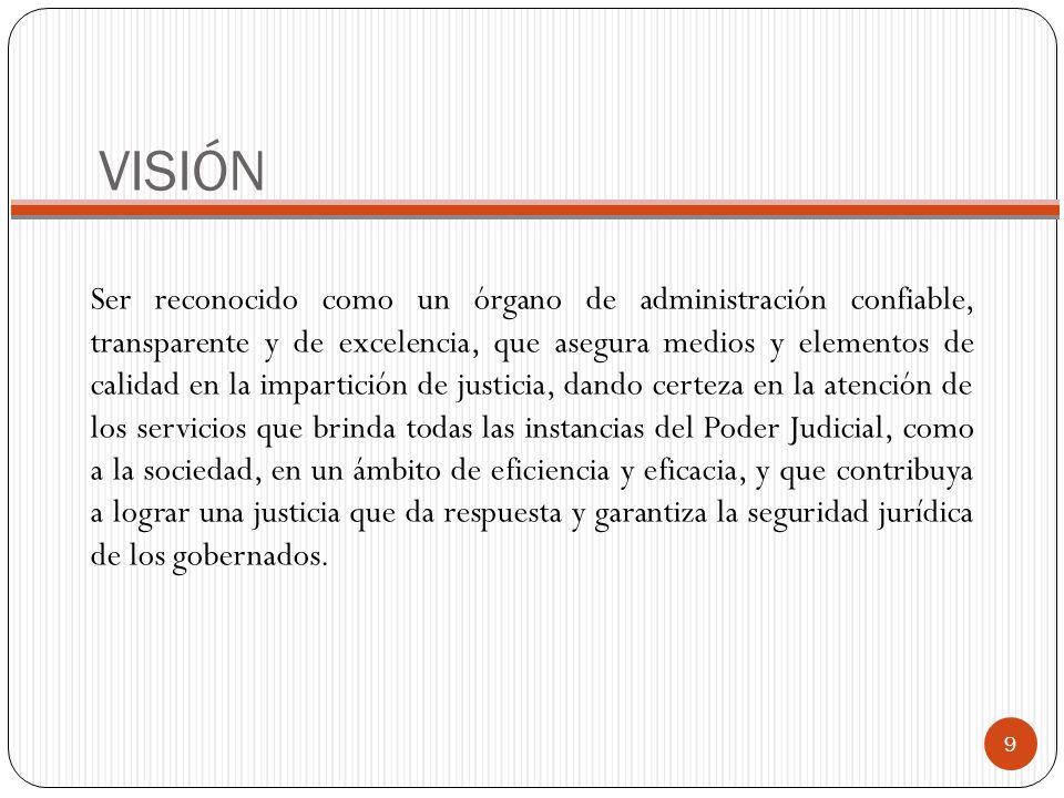 VISIÓN Ser reconocido como un órgano de administración confiable, transparente y de excelencia, que asegura medios y elementos de calidad en la impart