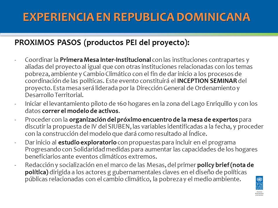 EXPERIENCIA EN REPUBLICA DOMINICANA PROXIMOS PASOS (productos PEI del proyecto): -Coordinar la Primera Mesa Inter-Institucional con las instituciones