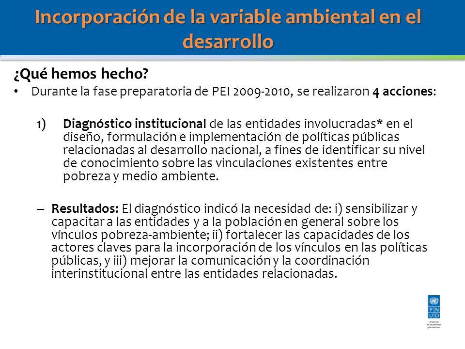 Incorporación de la variable ambiental en el desarrollo ¿Qué hemos hecho? Durante la fase preparatoria de PEI 2009-2010, se realizaron 4 acciones: 1)D