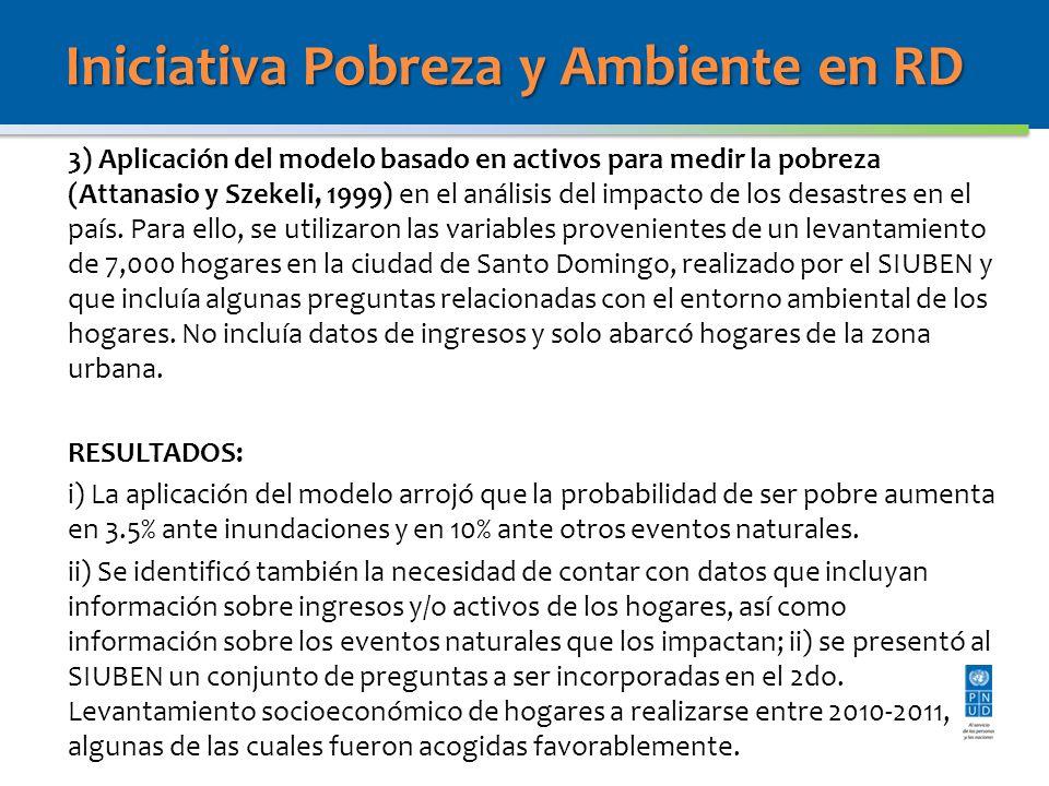 Iniciativa Pobreza y Ambiente en RD 3) Aplicación del modelo basado en activos para medir la pobreza (Attanasio y Szekeli, 1999) en el análisis del impacto de los desastres en el país.