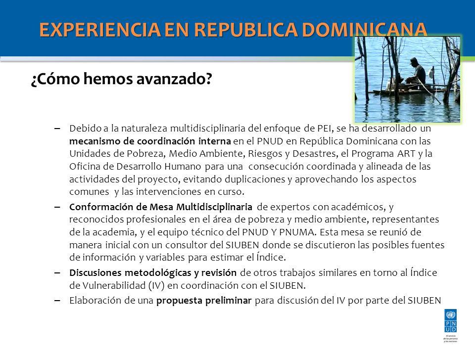 EXPERIENCIA EN REPUBLICA DOMINICANA ¿Cómo hemos avanzado? – Debido a la naturaleza multidisciplinaria del enfoque de PEI, se ha desarrollado un mecani