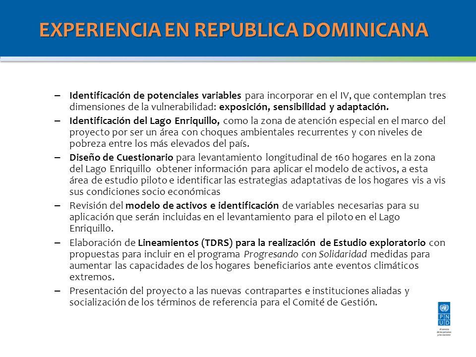 EXPERIENCIA EN REPUBLICA DOMINICANA – Identificación de potenciales variables para incorporar en el IV, que contemplan tres dimensiones de la vulnerabilidad: exposición, sensibilidad y adaptación.