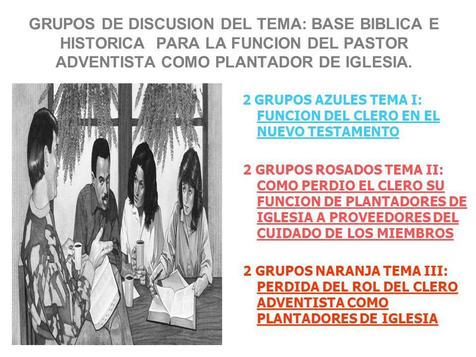 GRUPOS DE DISCUSION DEL TEMA: BASE BIBLICA E HISTORICA PARA LA FUNCION DEL PASTOR ADVENTISTA COMO PLANTADOR DE IGLESIA. 2 GRUPOS AZULES TEMA I: FUNCIO