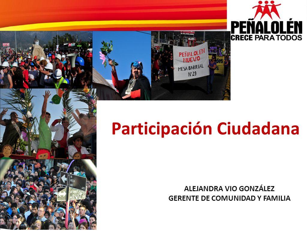 ALEJANDRA VIO GONZÁLEZ GERENTE DE COMUNIDAD Y FAMILIA Participación Ciudadana