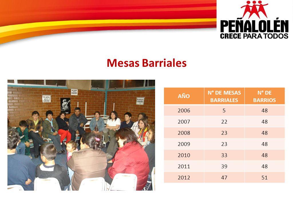 Mesas Barriales AÑO N° DE MESAS BARRIALES N° DE BARRIOS 2006548 20072248 20082348 20092348 20103348 20113948 20124751
