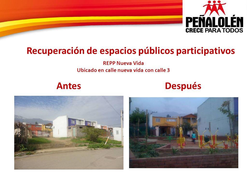 Recuperación de espacios públicos participativos REPP Nueva Vida Ubicado en calle nueva vida con calle 3 AntesDespués