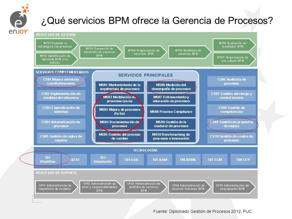 ¿Qué servicios BPM ofrece la Gerencia de Procesos? Fuente: Diplomado Gestión de Procesos 2012, PUC