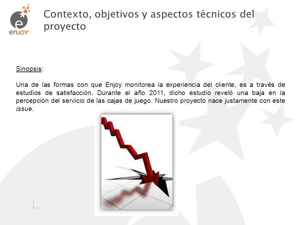 Contexto, objetivos y aspectos técnicos del proyecto Sinopsis: Una de las formas con que Enjoy monitorea la experiencia del cliente, es a través de es