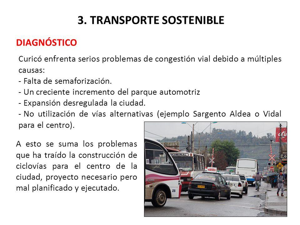 3. TRANSPORTE SOSTENIBLE DIAGNÓSTICO Curicó enfrenta serios problemas de congestión vial debido a múltiples causas: - Falta de semaforización. - Un cr