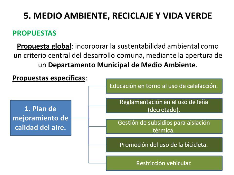 5. MEDIO AMBIENTE, RECICLAJE Y VIDA VERDE PROPUESTAS Propuesta global: incorporar la sustentabilidad ambiental como un criterio central del desarrollo