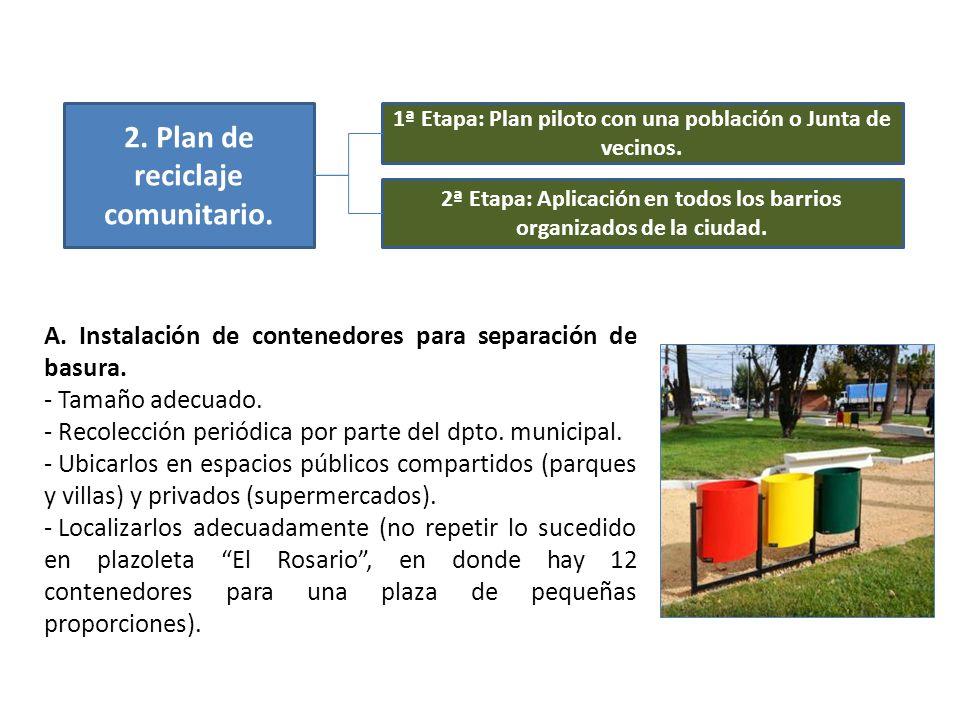 2. Plan de reciclaje comunitario. 1ª Etapa: Plan piloto con una población o Junta de vecinos. 2ª Etapa: Aplicación en todos los barrios organizados de