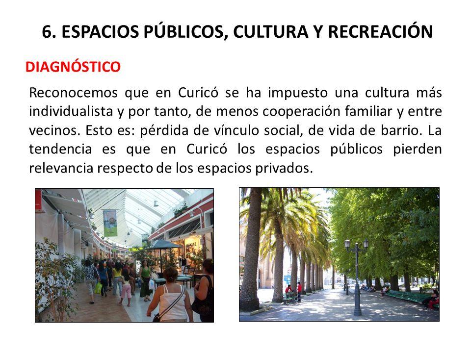 6. ESPACIOS PÚBLICOS, CULTURA Y RECREACIÓN DIAGNÓSTICO Reconocemos que en Curicó se ha impuesto una cultura más individualista y por tanto, de menos c