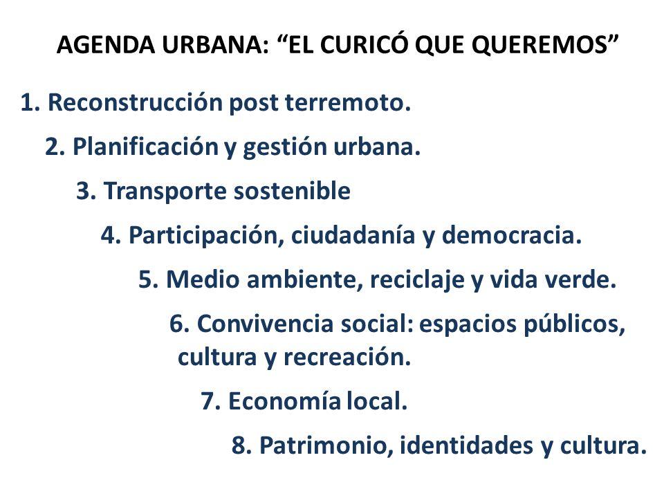 AGENDA URBANA: EL CURICÓ QUE QUEREMOS 1. Reconstrucción post terremoto. 2. Planificación y gestión urbana. 3. Transporte sostenible 4. Participación,