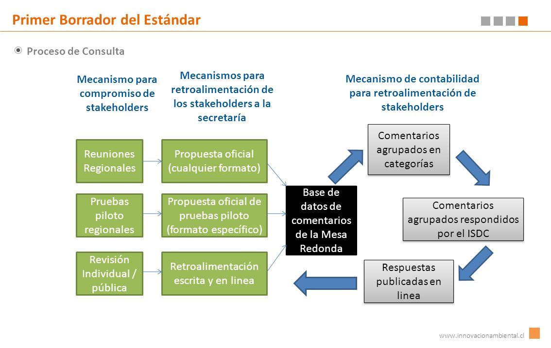 Proceso de Consulta www.innovacionambiental.cl Primer Borrador del Estándar Reuniones Regionales Pruebas piloto regionales Revisión Individual / públi