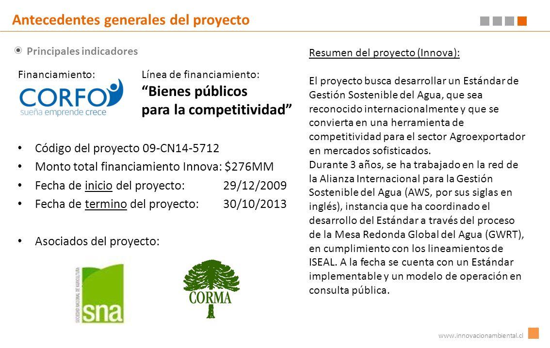 Principales indicadores www.innovacionambiental.cl Antecedentes generales del proyecto Código del proyecto 09-CN14-5712 Monto total financiamiento Inn
