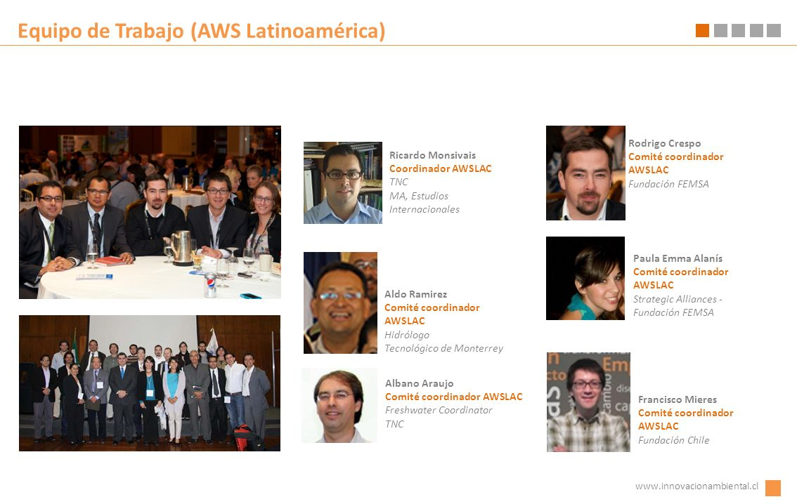 Equipo de Trabajo (AWS Latinoamérica) Rodrigo Crespo Comité coordinador AWSLAC Fundación FEMSA www.innovacionambiental.cl Aldo Ramirez Comité coordina