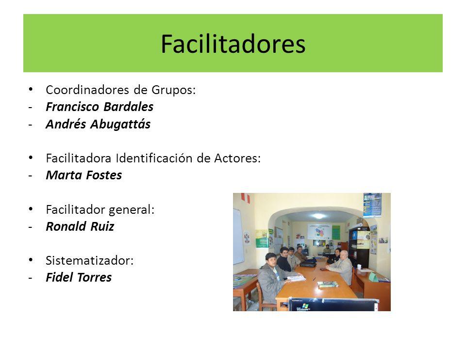 Facilitadores Coordinadores de Grupos: -Francisco Bardales -Andrés Abugattás Facilitadora Identificación de Actores: -Marta Fostes Facilitador general