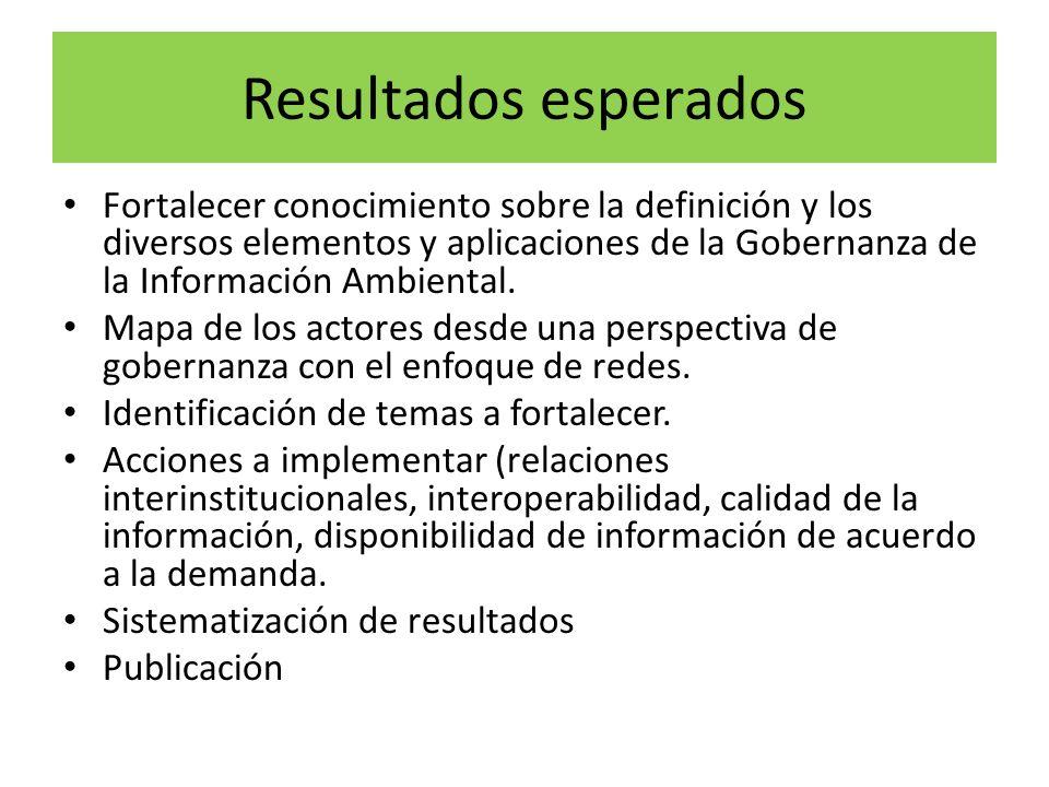 Resultados esperados Fortalecer conocimiento sobre la definición y los diversos elementos y aplicaciones de la Gobernanza de la Información Ambiental.