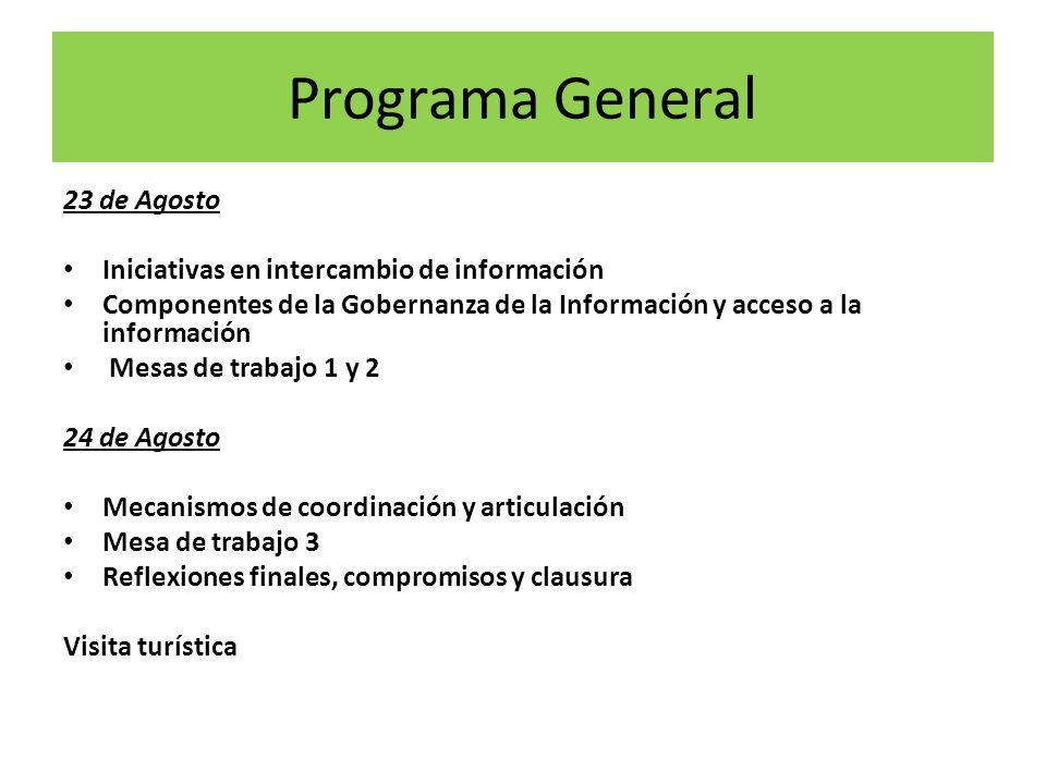 Programa General 23 de Agosto Iniciativas en intercambio de información Componentes de la Gobernanza de la Información y acceso a la información Mesas
