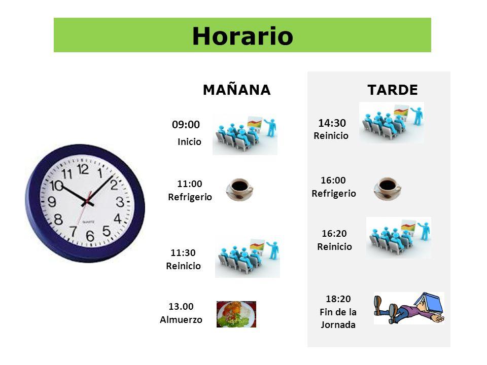 Horario Inicio 11:00 Refrigerio 13.00 Almuerzo 09:00 11:30 Reinicio MAÑANATARDE Reinicio 14:30 16:00 Refrigerio 16:20 Reinicio 18:20 Fin de la Jornada