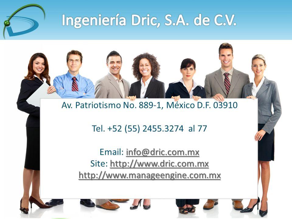 Av. Patriotismo No. 889-1, México D.F. 03910 Tel.