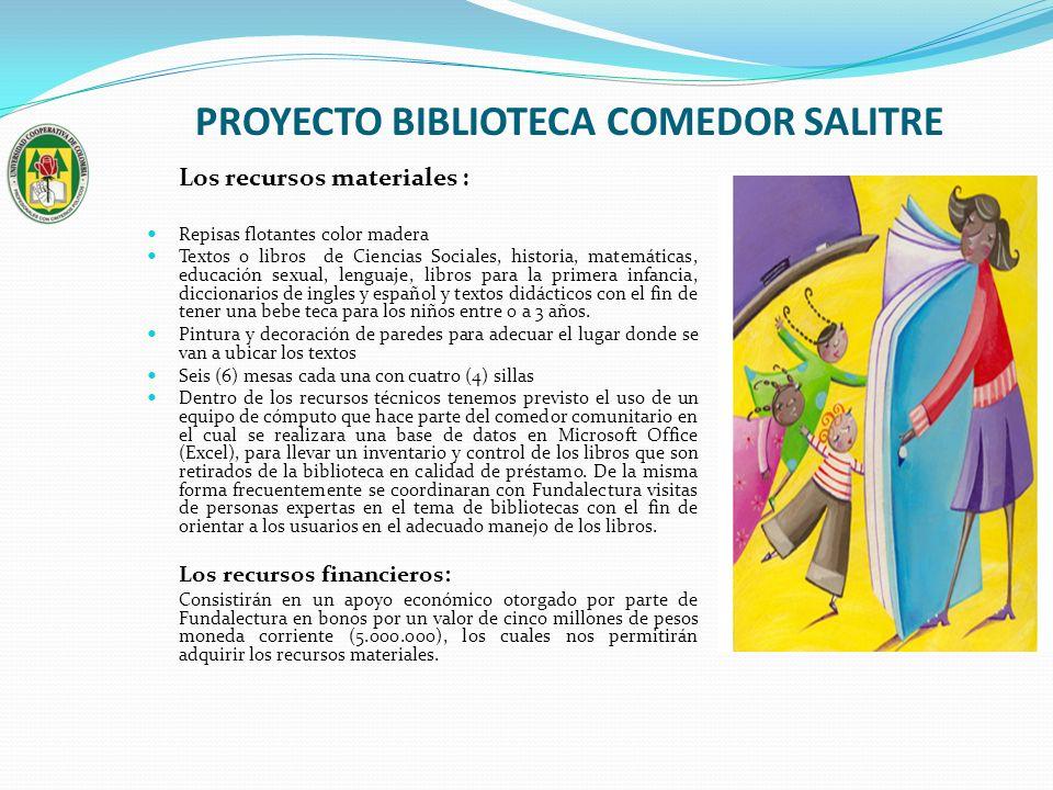 PROYECTO BIBLIOTECA COMEDOR SALITRE Los recursos materiales : Repisas flotantes color madera Textos o libros de Ciencias Sociales, historia, matemátic