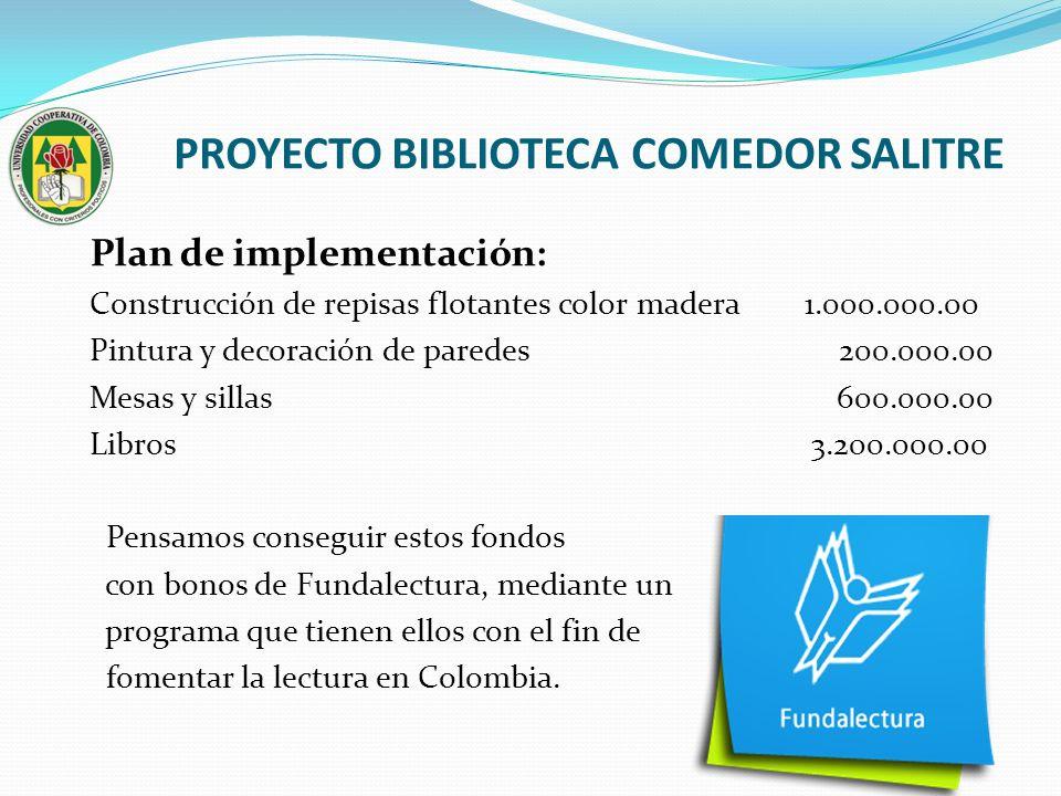 PROYECTO BIBLIOTECA COMEDOR SALITRE Plan de implementación: Construcción de repisas flotantes color madera 1.000.000.00 Pintura y decoración de parede