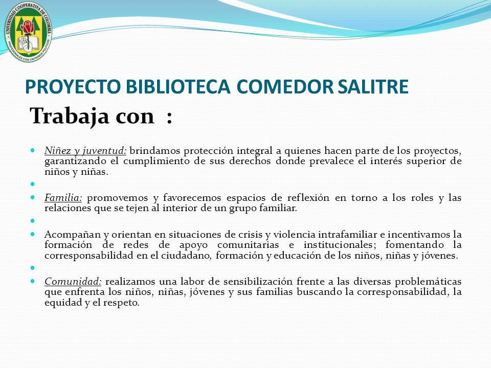 PROYECTO BIBLIOTECA COMEDOR SALITRE Beneficiarios previstos- Balance Social.
