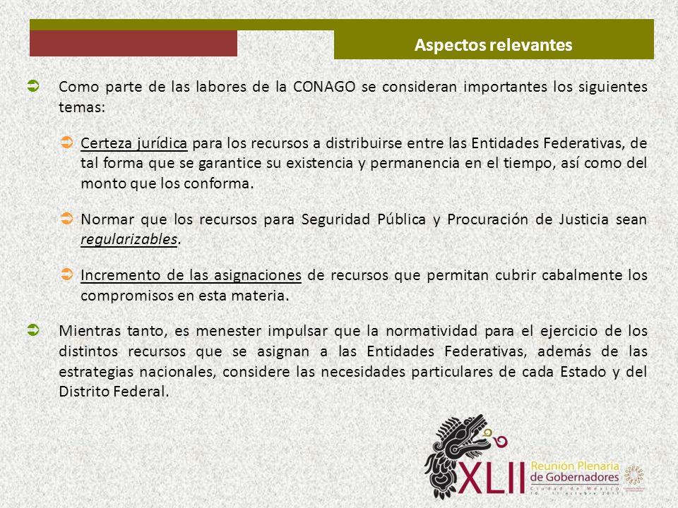 Aspectos relevantes Como parte de las labores de la CONAGO se consideran importantes los siguientes temas: Certeza jurídica para los recursos a distri
